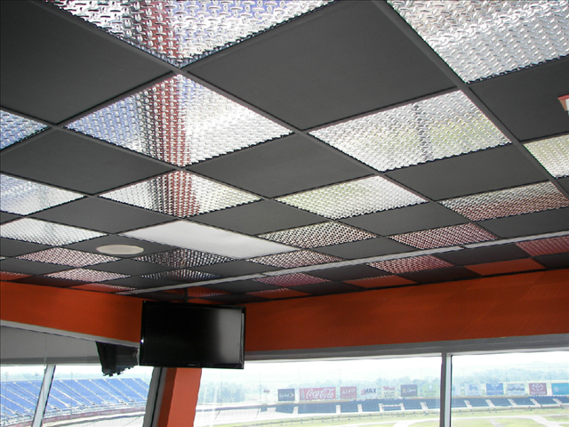 This is a Diamond and Flat Black PVC Ceiling Tile System we completed.